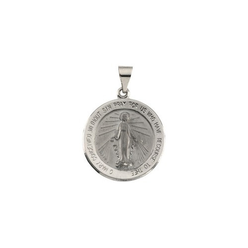 14kt White Gold 22.25mm Hollow Round Miraculous Medal