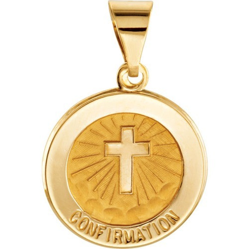 14kt Yellow Gold 14.75mm Round Hollow Confirmation Medal