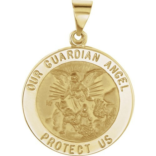 14kt Yellow Gold 21.75mm Round Hollow Guardian Angel Medal