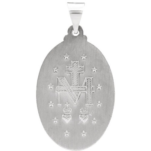 14kt White Gold 25x17.75mm Oval Hollow Miraculous Medal