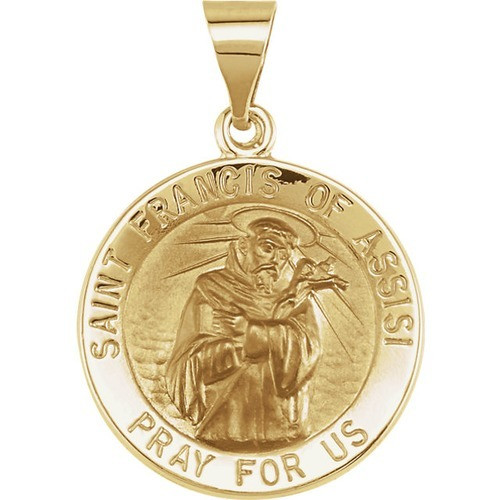 14kt Yellow Gold 18.25mm Round Hollow St. Francis of Assisi Medal