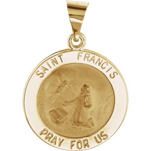 14kt Yellow Gold 18.25mm Round Hollow St. Francis Medal
