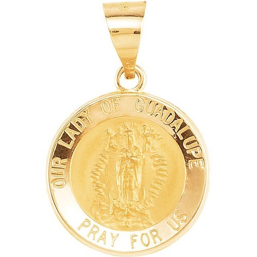 14kt Yellow Gold 15mm Round Hollow Our Lady of Guadalupe Medal