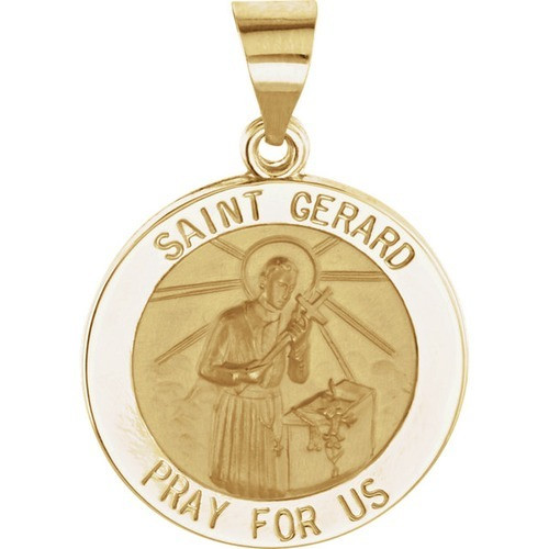 14kt Yellow Gold 18.25mm Round Hollow St. Gerard Medal