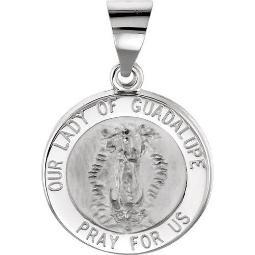 14kt White Gold 15mm Round Hollow Our Lady of Guadalupe Medal