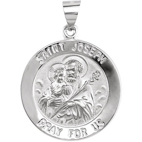 14kt White Gold 22mm Round Hollow Joseph Medal