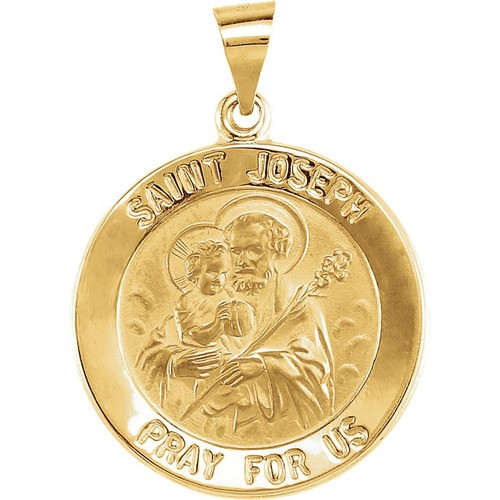 14kt Yellow Gold 22mm Round Hollow Joseph Medal