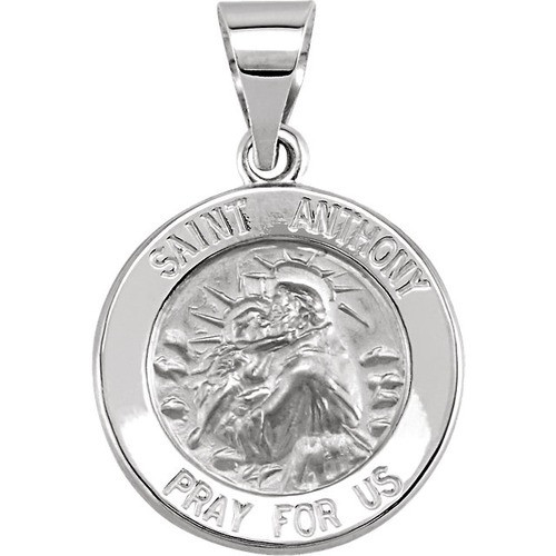 14kt White Gold 15mm Round Hollow St. Anthony Medal