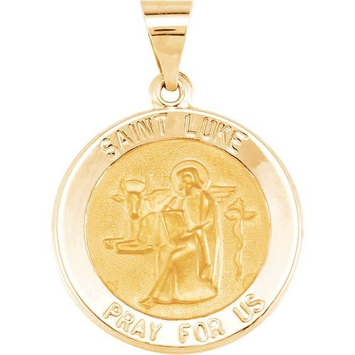 14kt Yellow Gold 18.5mm Round Hollow St. Luke Medal