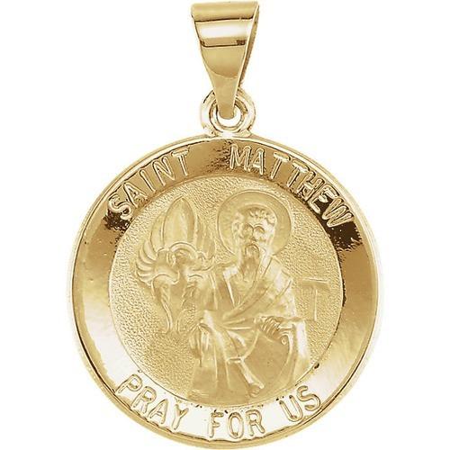 14kt Yellow Gold 18.5mm Round Hollow St. Matthew Medal
