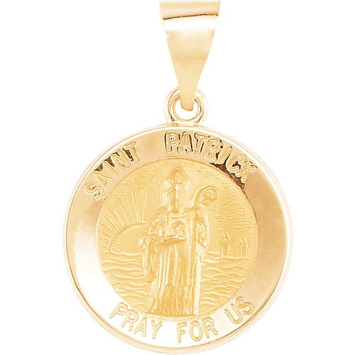 14kt Yellow Gold 14.75mm Round Hollow St. Patrick Medal