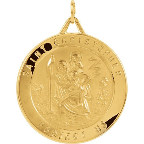 14kt Yellow Gold St. Christopher Medal (29mm)