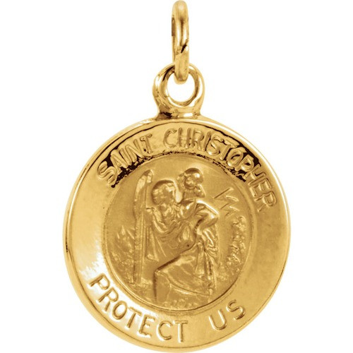 14kt Yellow Gold 11.75mm St. Christopher Medal