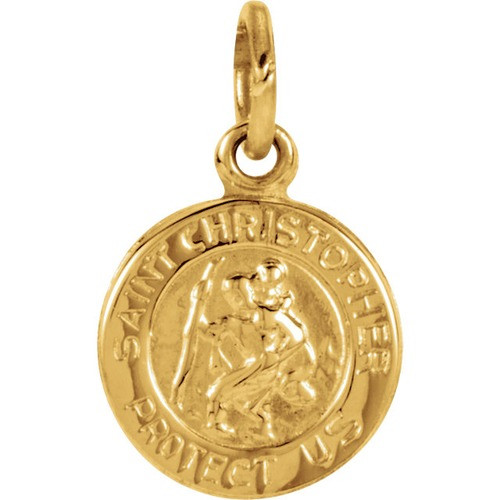 14kt Yellow Gold 8mm St. Christopher Medal
