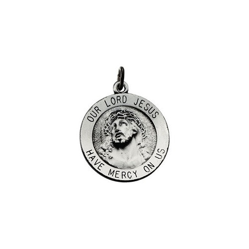 Sterling Silver 18.25mm Round Our Lord Jesus Medal