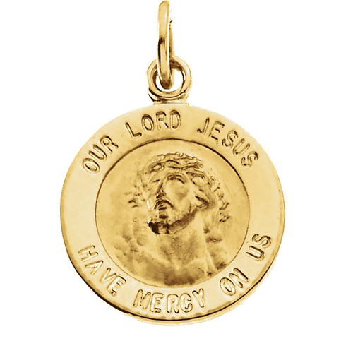 14kt Yellow Gold 12mm Round Our Lord Jesus Medal