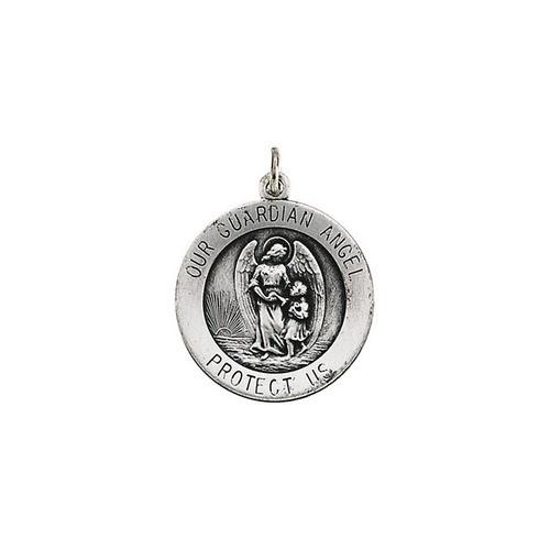 14kt White Gold 18mm Guardian Angel Medal