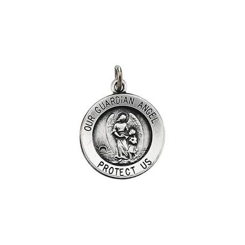 14kt White Gold 15mm Guardian Angel Medal