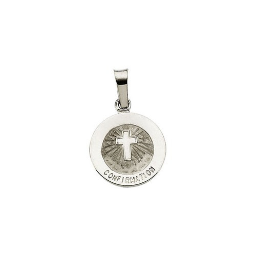 14kt White Gold 12mm Confirmation Medal with Cross