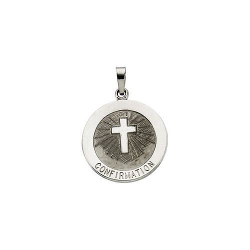 14kt White Gold 18mm Confirmation Medal with Cross