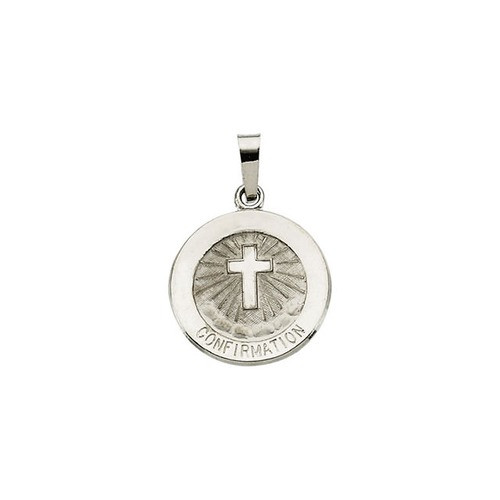 14kt White Gold 15mm Confirmation Medal with Cross