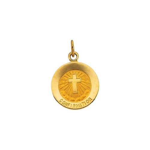 14kt Yellow Gold 12mm Confirmation Medal with Cross