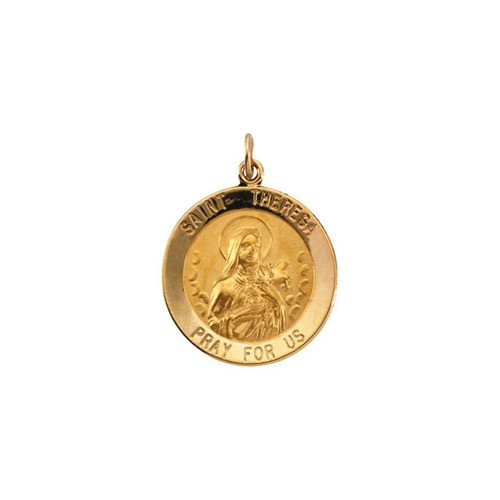 14kt Yellow Gold 22mm Round St.Theresa Medal
