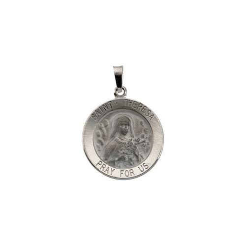 14kt White Gold 18mm Round St.Theresa Medal
