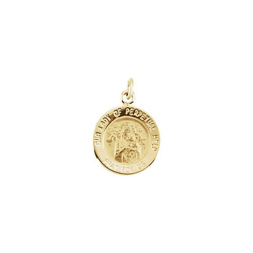 14kt Yellow Gold 12mm Round Our Lady of Perpetual Help Medal