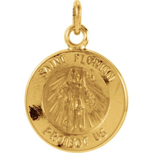 14kt Yellow Gold 12mm Round St. Florian Medal