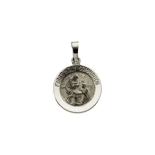 14kt White Gold 15mm First Communion Medal