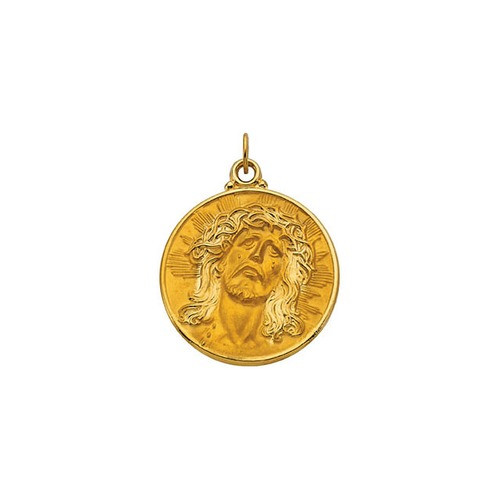 14kt Yellow Gold 28mm Round Face of Jesus (Ecce Homo) Medal