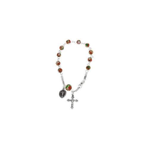 Red Cloisonne Rosary Bracelet