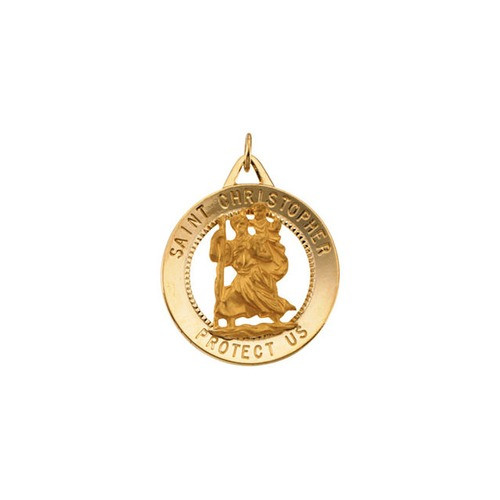 14kt Yellow Gold 25mm St. Christopher Medal