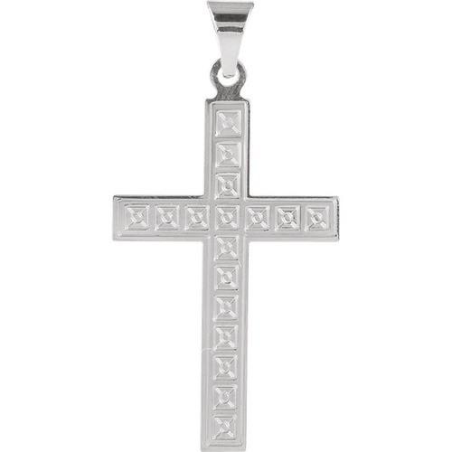 14kt White Gold Design Cross Pendant 2.35 Grams