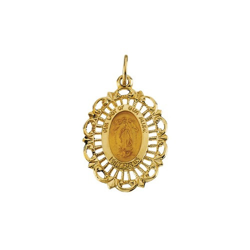 14kt Yellow 21.5x15mm Our Lady of Guadalupe Medal