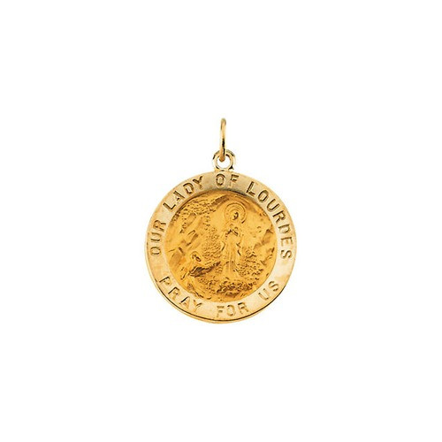 14kt Yellow 18.25mm Round Our Lady of Lourdes Medal