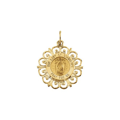 14kt Yellow 20x18mm Our Lady of Guadalupe Medal