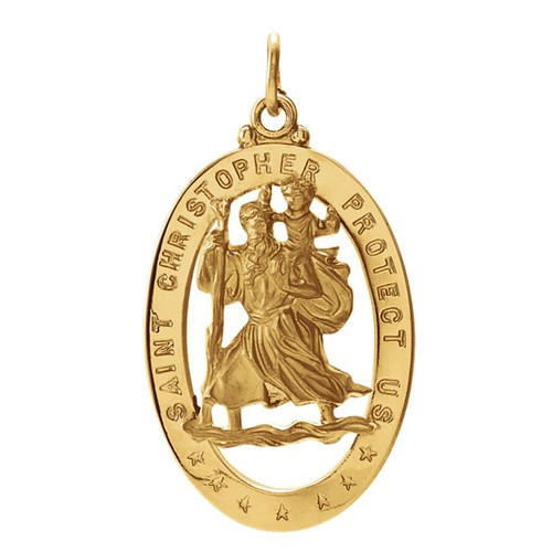 14Kt Yellow 29X20mm Oval St. Christopher Medal