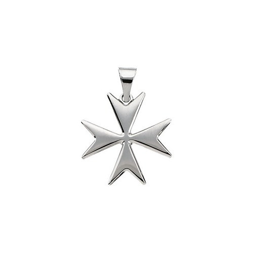 14kt White Maltese Cross Pendant with Packaging