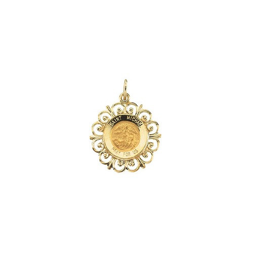 14kt Yellow 18.5mm Round St. Michael Medal