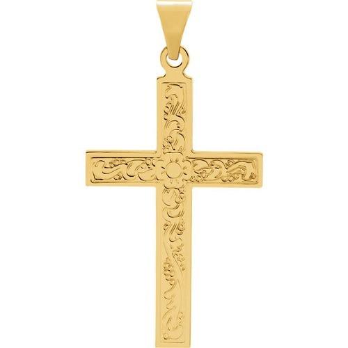 14kt Yellow Gold Design Cross Pendant 1.29 Grams