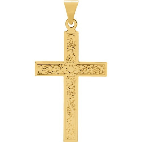 14kt Yellow Gold Design Cross Pendant 1.29 Grams