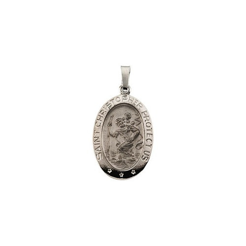 14kt White 19x14mm Oval St. Christopher Medal