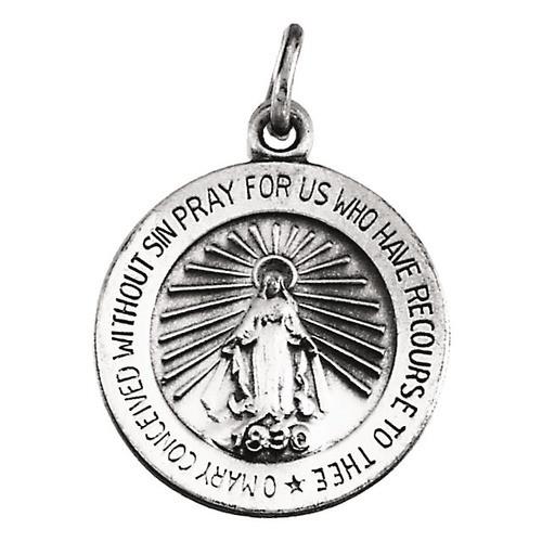 14kt White 18mm Miraculous Medal