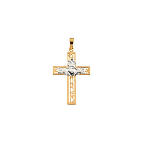 14kt Yellow/White Two Tone Claddagh Cross Pendant