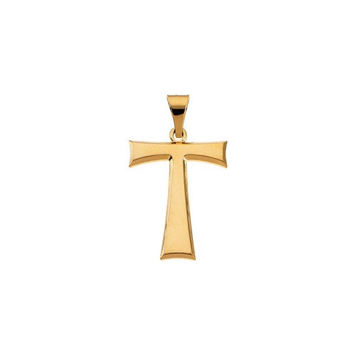 14kt Yellow Tau Cross Pendant with Packaging