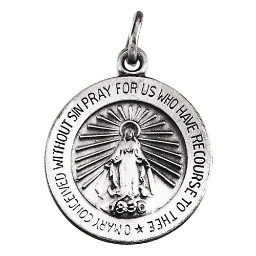14kt White 14.75mm Miraculous Medal