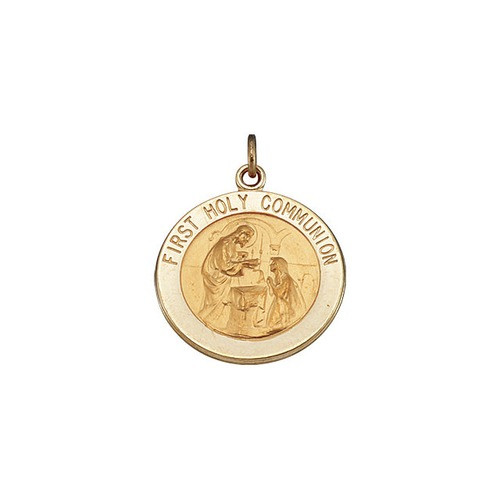 14kt Yellow 18mm First Communion Medal