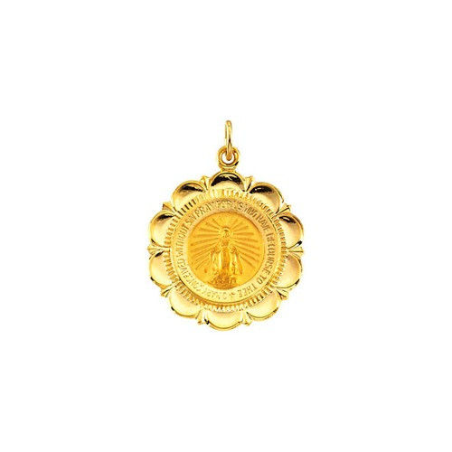 14kt Yellow 25x21mm Miraculous Medal